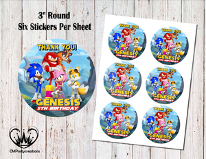 "Sonic Boom 3"" Round Thank You Stickers"