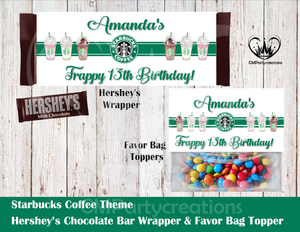 Starbucks Hershey's Wrapper and Favor Bag Toppers