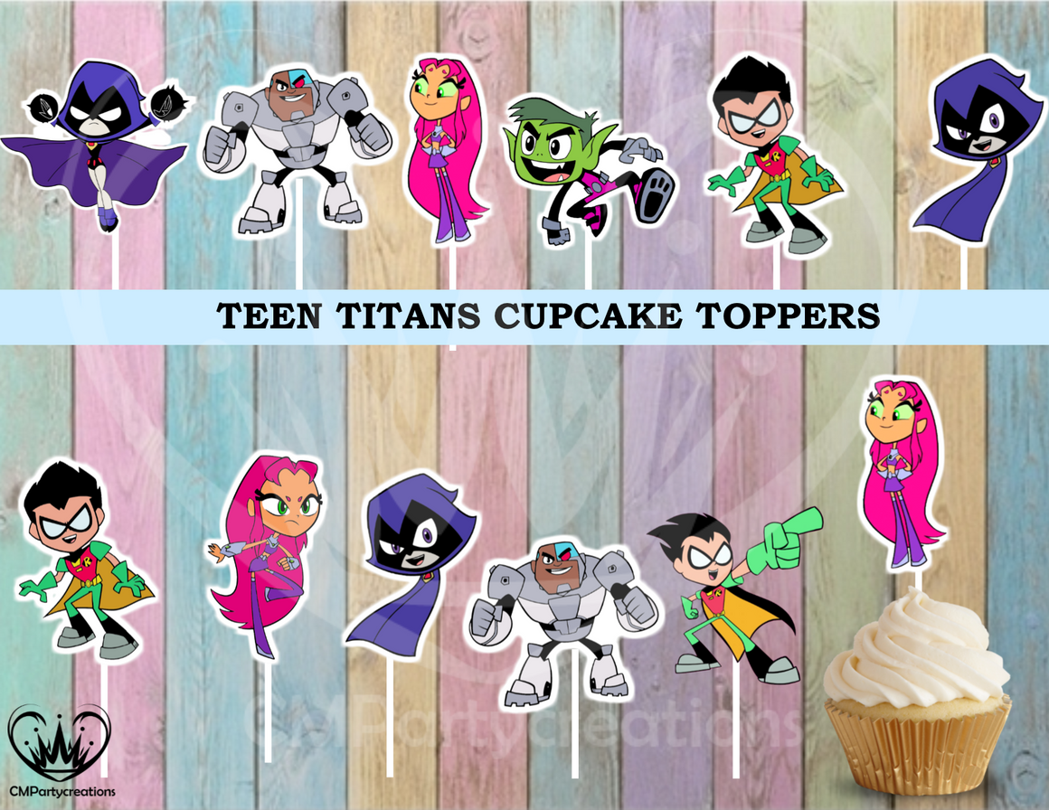 Teen Titans Cupcake Birthday Toppers Die Cuts