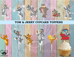 Tom & Jerry Birthday Party Cupcake Toppers