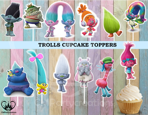 Trolls Birthday Party Cupcake Toppers Die Cuts