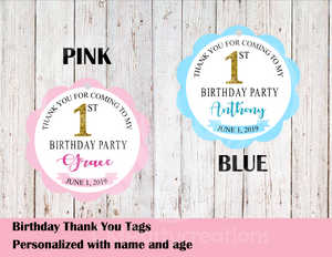 Birthday Party Thank You Tags