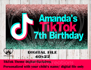 TikTok Personalized Backdrop **IMAGE ONLY***