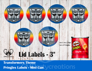 Transformers Pringles Can and Lid Labels
