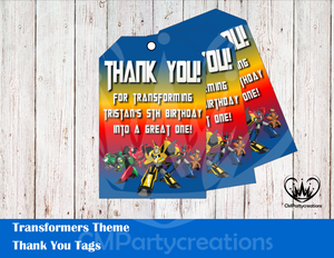 Transformers Personalized Thank You Tags