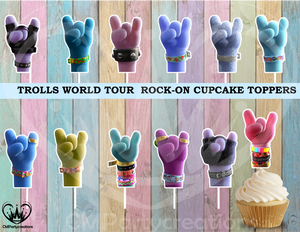 Trolls Rock On Tour Cupcake Toppers