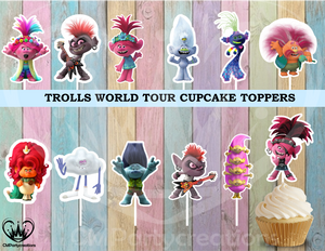 Trolls World Tour Cupcake Toppers