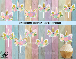 Unicorn Birthday Party Cupcake Toppers