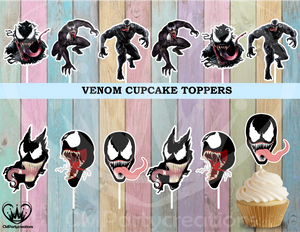 Venom Cupcake Toppers Birthday Party
