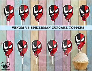 Venom Half Spiderman Cupcake Toppers Birthday Party