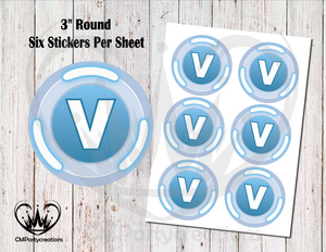 "Fortnite V Bucks 3"" Round Stickers"