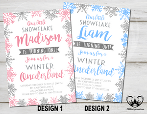 Winter onderland First Birthday Invitation
