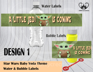 Yoda Baby Shower Water & Bubble Labels