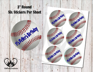 "Baseball Birthday 3"" Round Stickers"