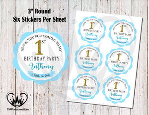 "Happy Birthday 3"" Round Thank You Stickers"