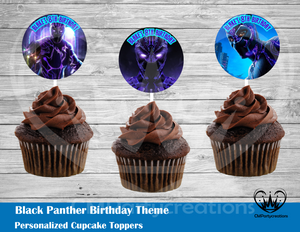 Black Panther Round Cupcake Toppers