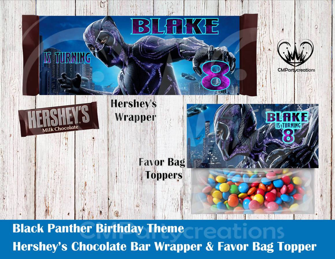 Black Panther Hershey's Wrapper and Favor Bag Toppers