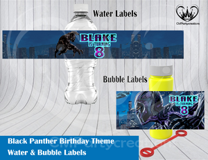 Black Panther Water & Bubble Labels