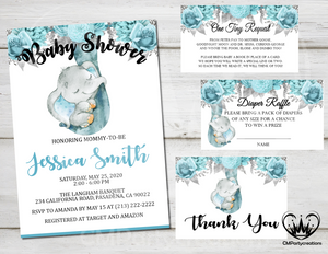 Elephant Floral Blue Pink Silver Baby Shower Invitation