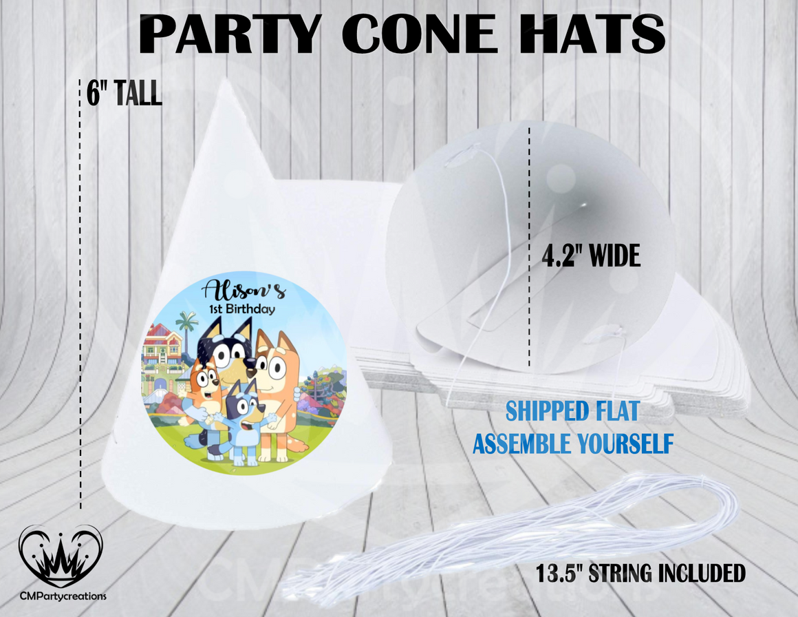 Bluey Personalized Cone Hats