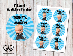 "Boss Baby 3"" Round Thank You Stickers"