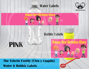 Cleo y Cuquin Telerin Family Water & Bubble Labels