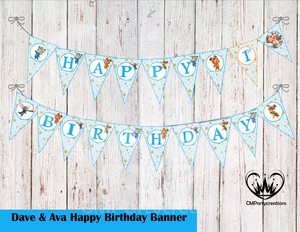 Dave and Ava Theme Birthday Banner