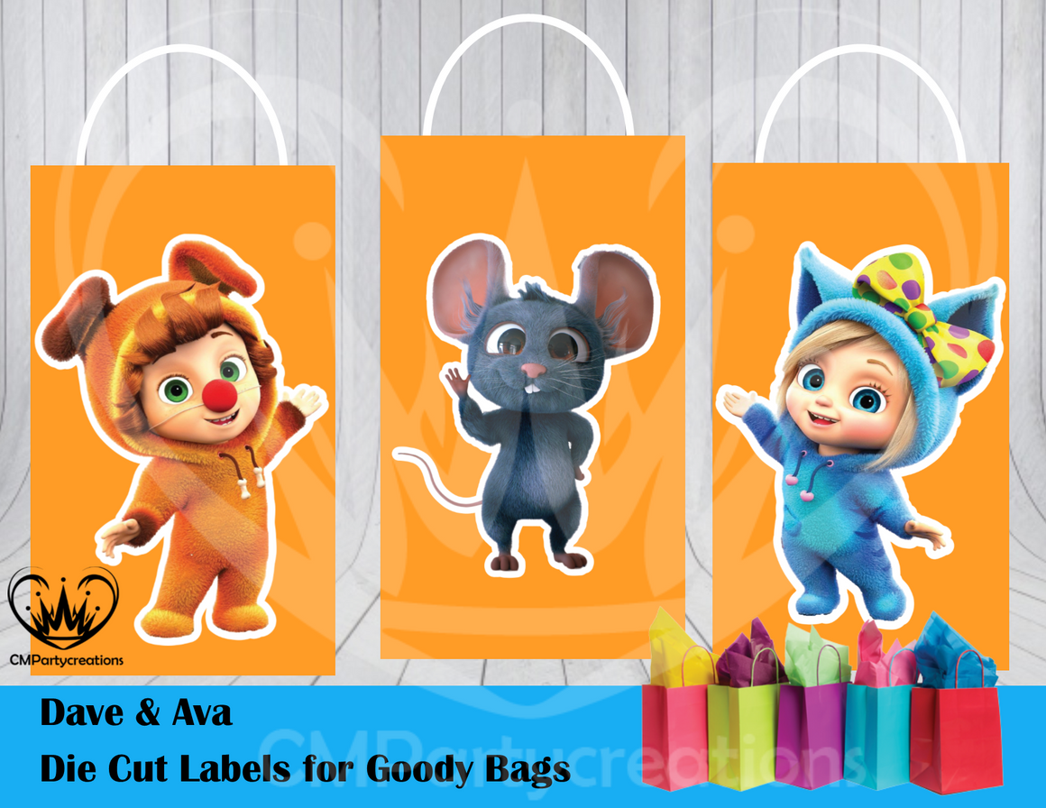 Dave and Ava Die Cut Goody Bag Labels
