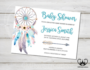 Dream Catcher Baby Shower Invitation Blue Pink