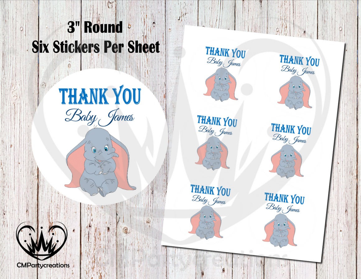 "Dumbo 3"" Round Thank You Stickers"