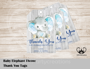 Baby Elephant Theme Personalized Thank You Tags