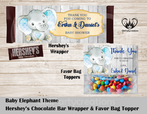 Baby Elephant Theme Hershey's Wrapper and Favor Bag Toppers
