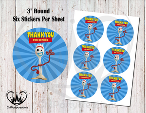 "Forky Toy Story 3"" Round Thank You Stickers"
