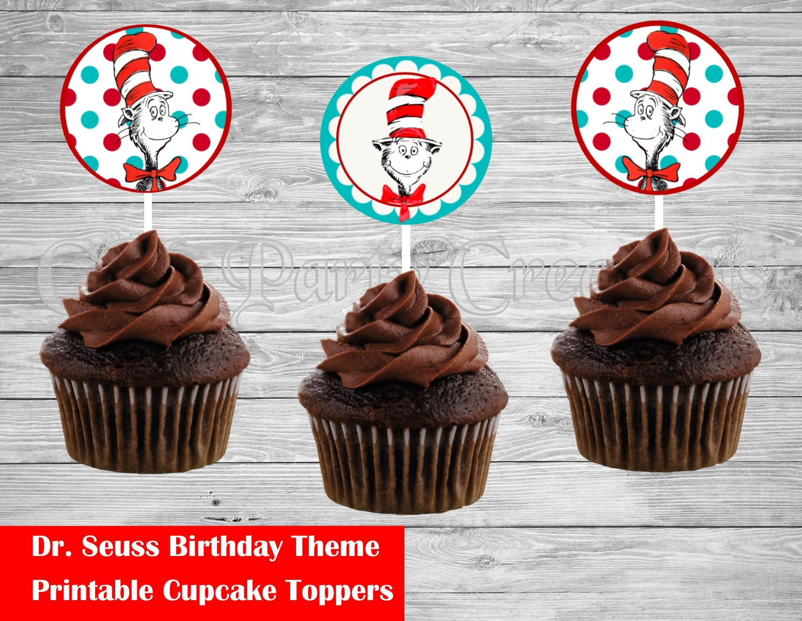 Astonishing Dr Seuss Birthday Cupcake Round Toppers Cmpartycreations Personalised Birthday Cards Epsylily Jamesorg