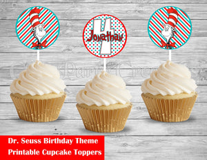 Dr Seuss Birthday Cupcake Round Toppers