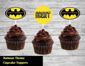 Batman Theme Cupcake Toppers