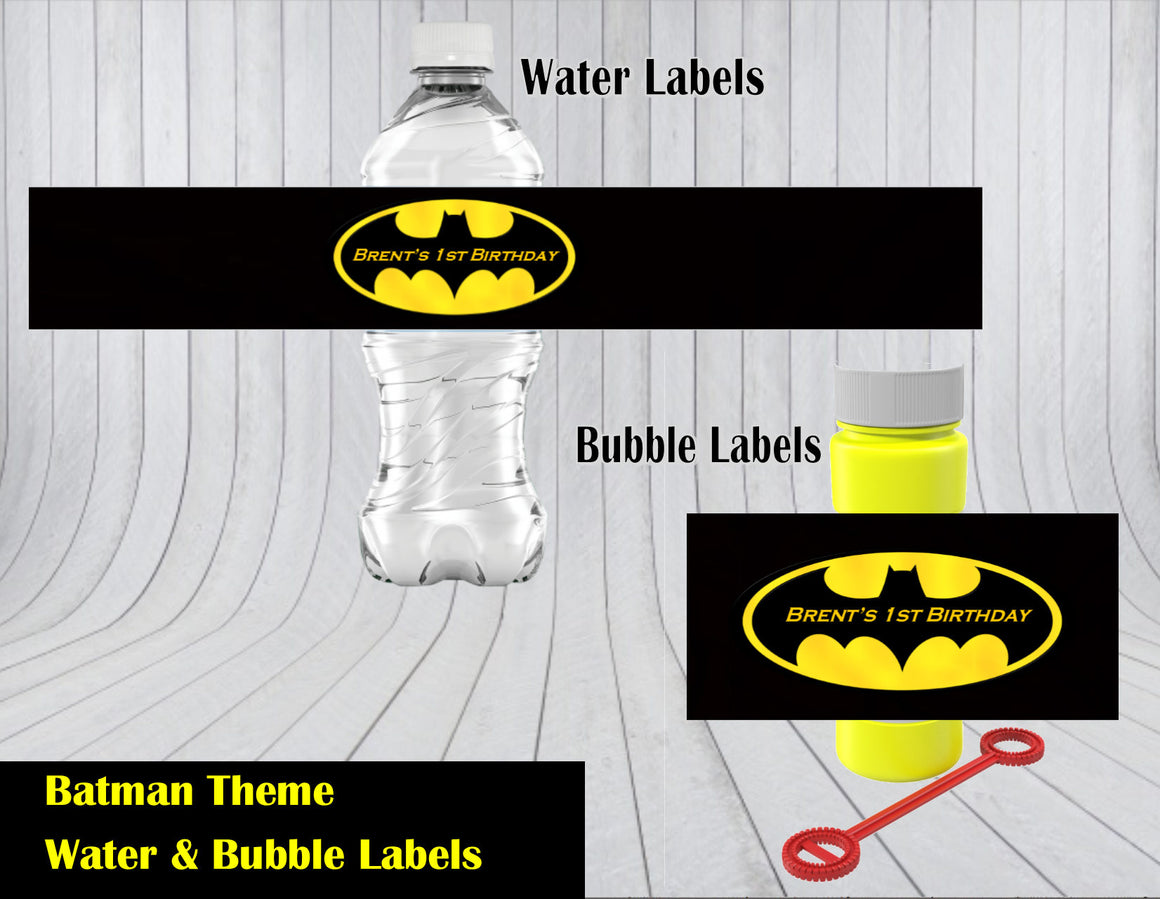 Batman Water and Bubble Labels