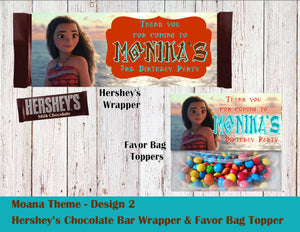 Moana Party Hershey's Wrapper and Favor Bag Toppers