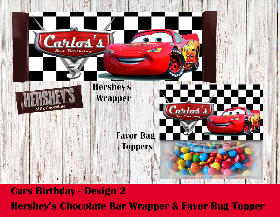 Cars Party Theme Hershey's Wrapper and Favor Bag Toppers