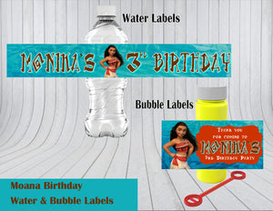 Moana Birthday Water & Bubble Labels
