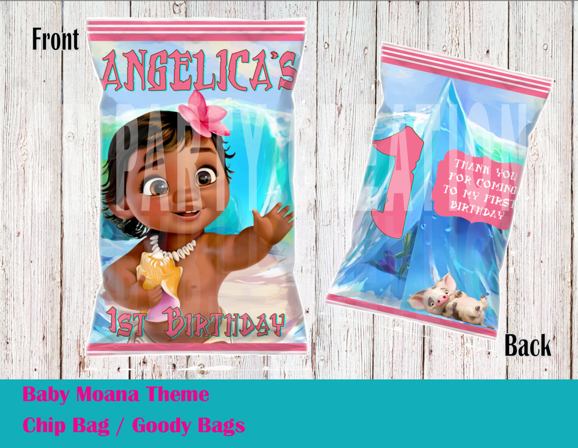 Baby Moana Chip Bag / Goody Bags