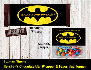 Batman Party Hershey's Wrapper and Favor Bag Toppers