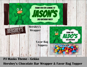 PJ Masks Party Hershey's Wrapper and Favor Bag Toppers