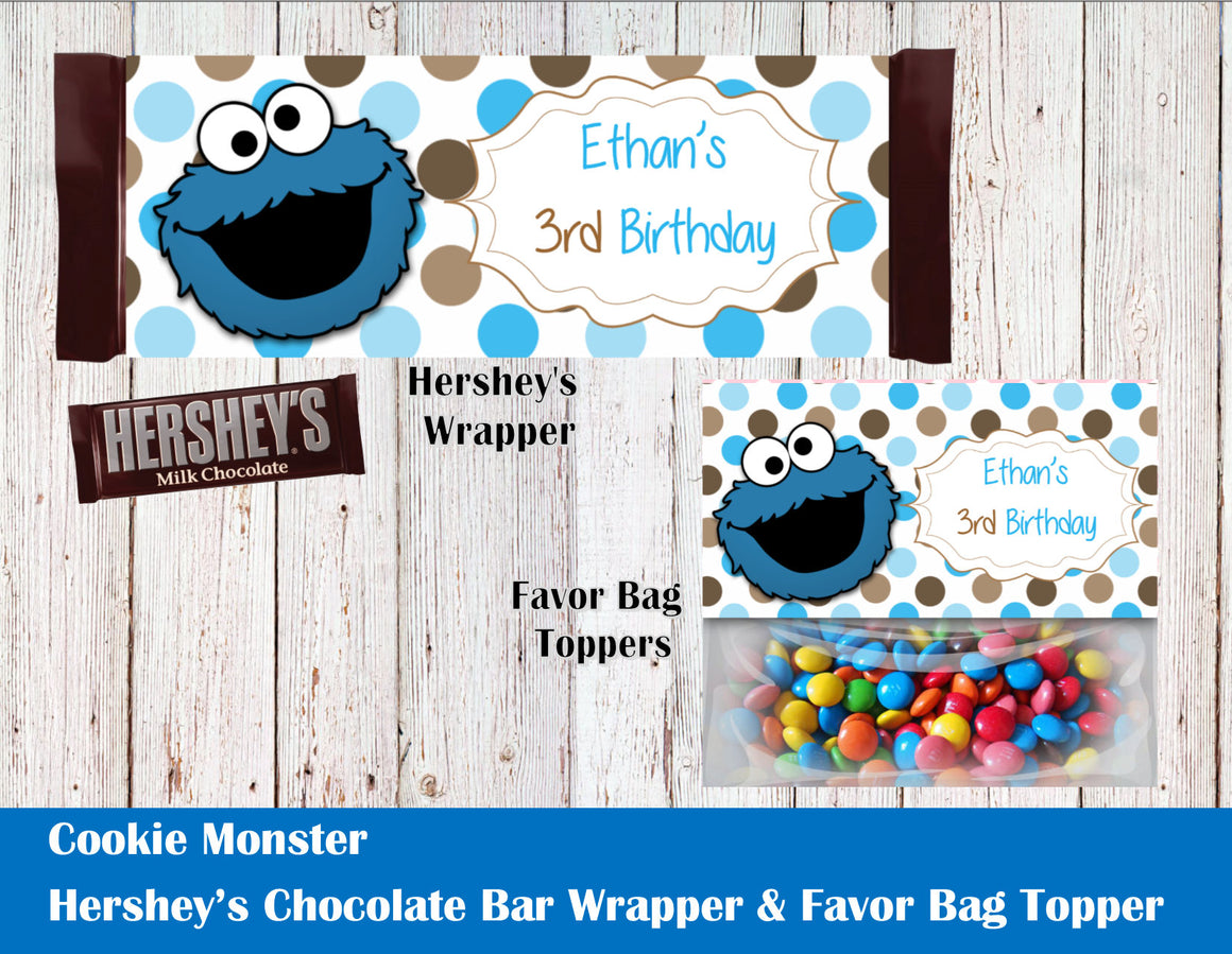Cookie Monster and Elmo Hershey's Wrapper and Favor Bag Toppers