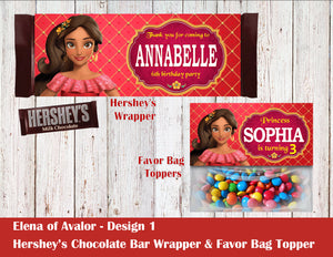 Elena of Avalor Hershey's Wrapper and Favor Bag Toppers