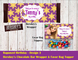 Rapunzel Hershey's Wrapper and Favor Bag Toppers