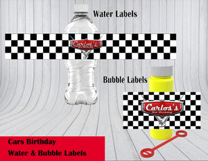 Disney's Cars Theme Water & Bubble Label