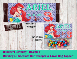 The Little Mermaid Hershey's Wrapper and Favor Bag Toppers