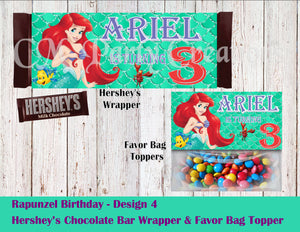 The Little Mermaid, Ariel The Little Mermaid Hershey's Wrapper and Favor Bag ToppersWrapper and Favor Bag Toppers