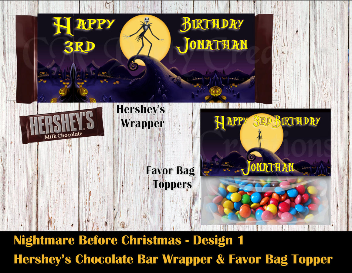 Jack Skellington Party Hershey's Wrapper and Favor Bag Toppers